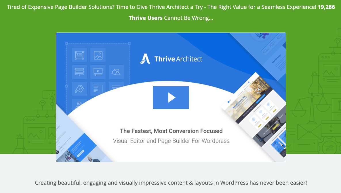 Thrive Architect main page