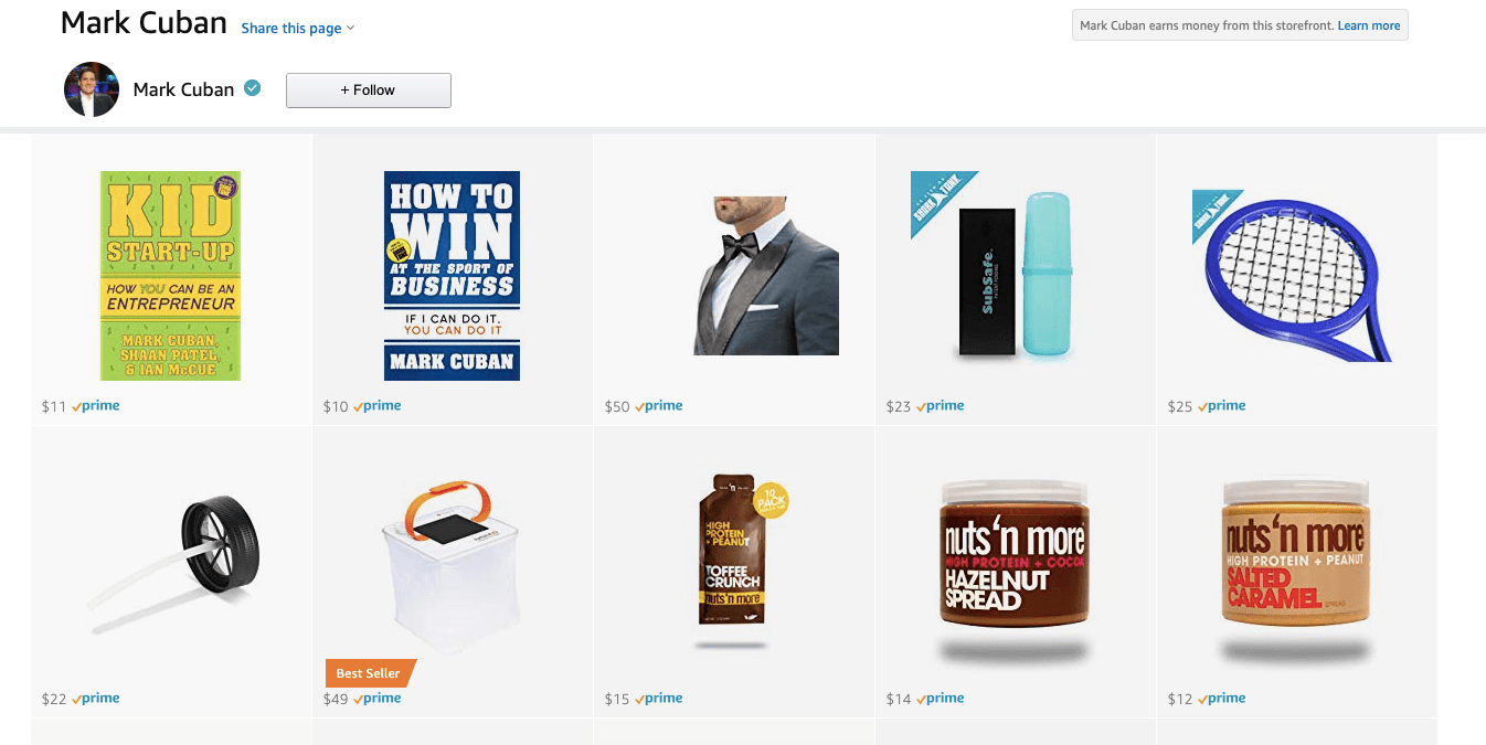 Mark Cuban Amazon page