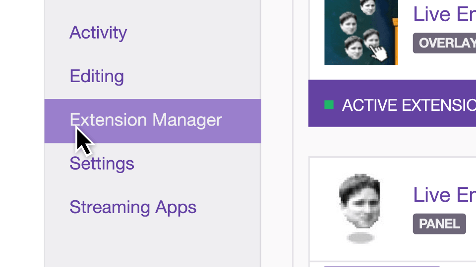 Extension Manager Twitch