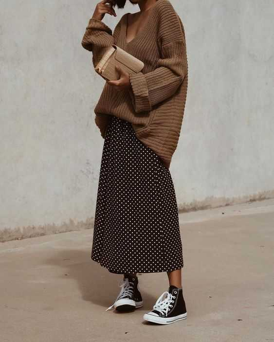 low-necked sweater + skirt