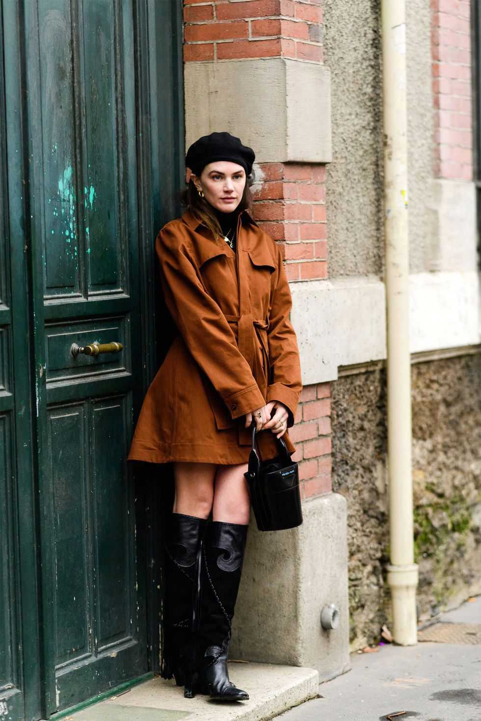 belted jacket + boots