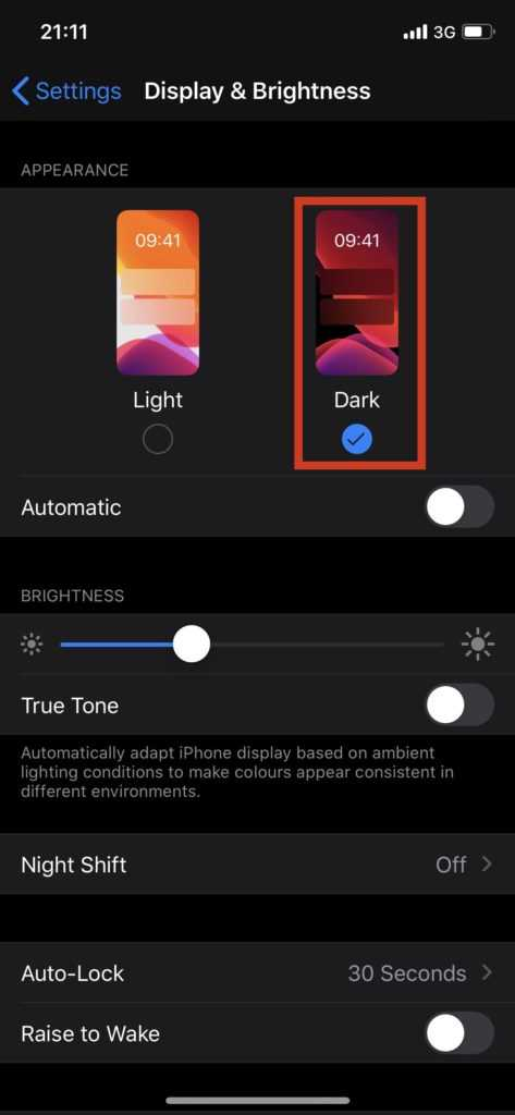 dark mode_iPhone