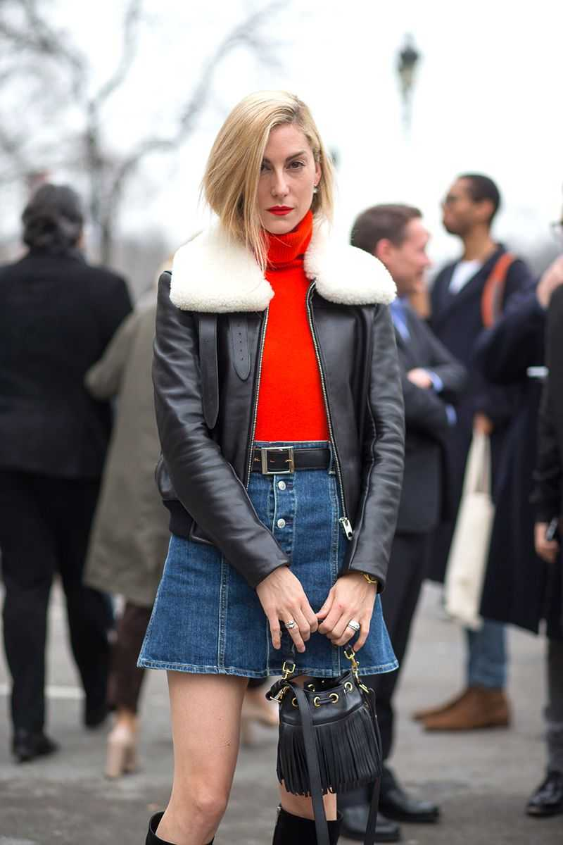 denim skirt + boots