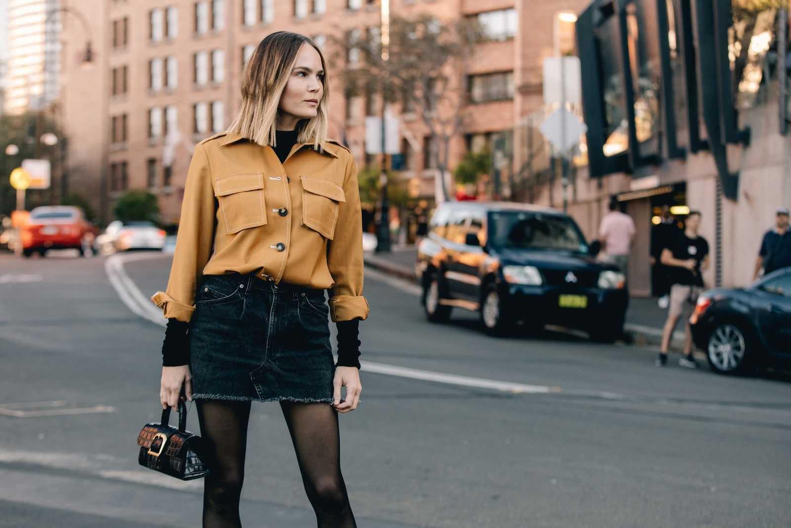 short jacket + denim skirt