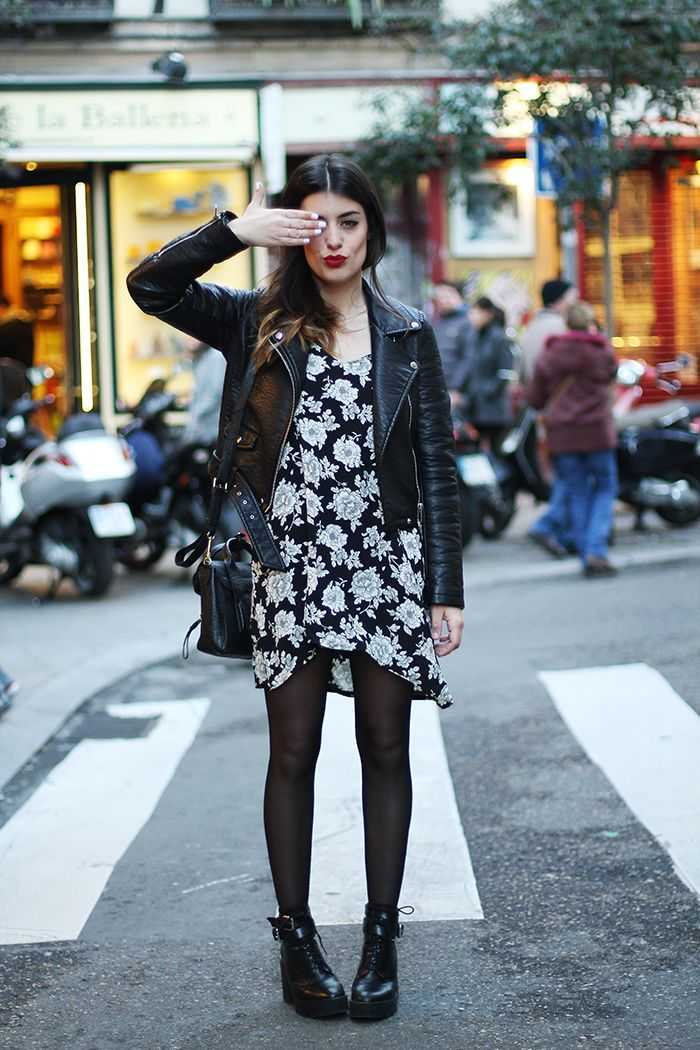 leather jacket + floral dress