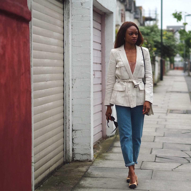 linen jacket + jeans
