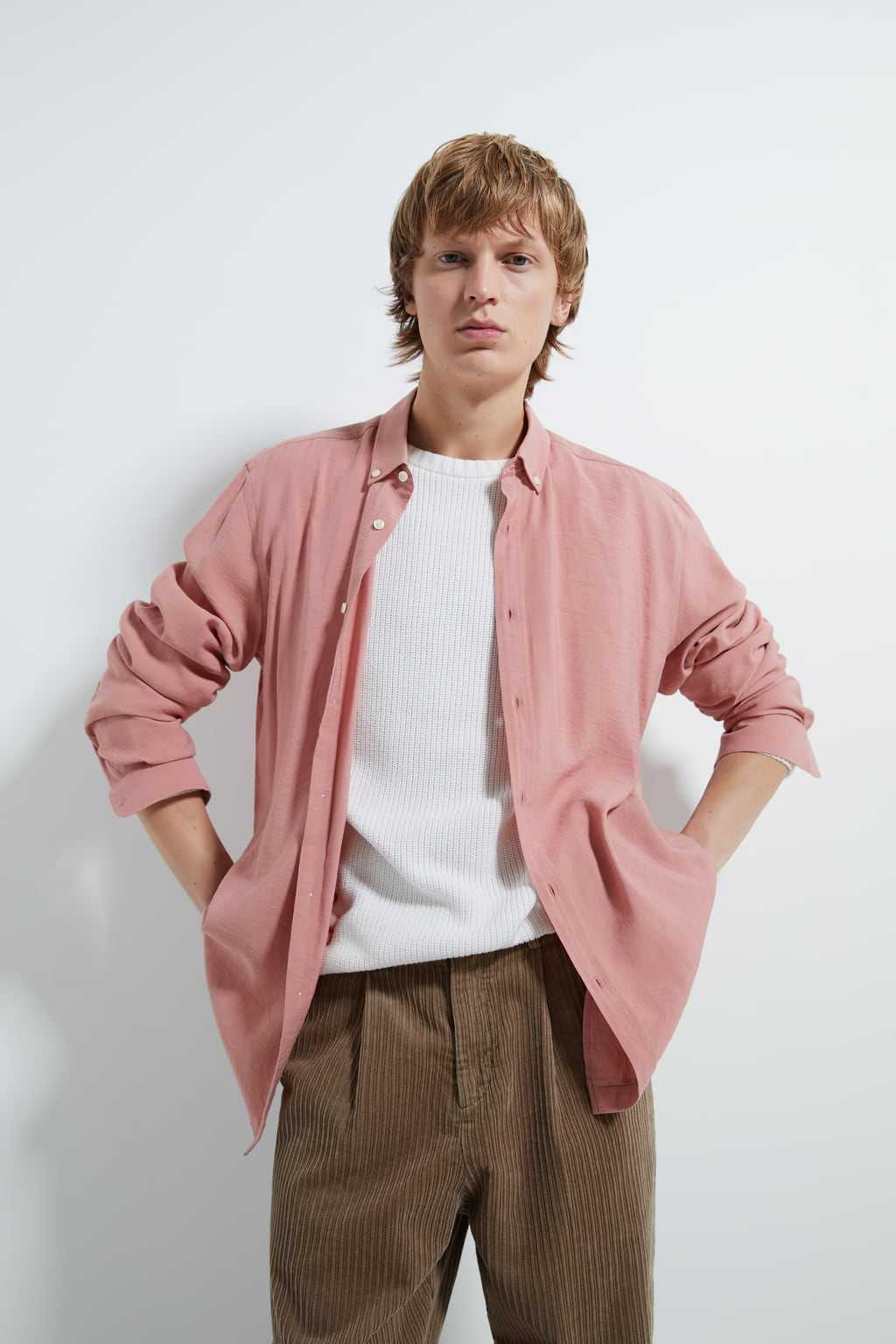 pink Zara shirt men
