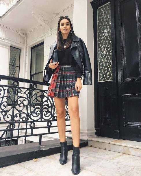 plaid skirt +leather jacket outfit