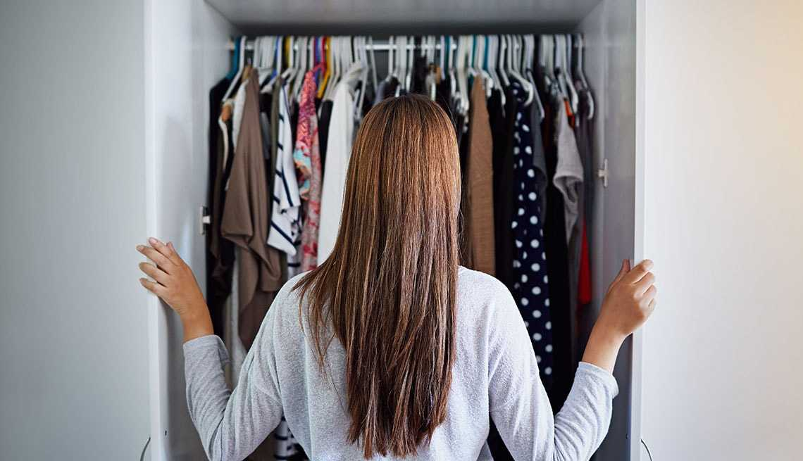 woman in front of closet